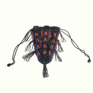 Antique 1920s blue and orange beaded purse!
